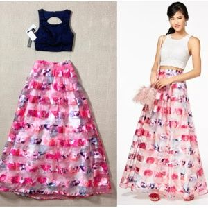 NEW Sequin Hearts 2-piece Floral Gown Size 0